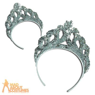 Silver Sequin Tiara Fairy Tale Princess Crown Fancy Dress Headband Accessory • 3.79£