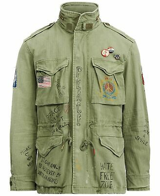 AU484.56 • Buy $598 Polo Ralph Lauren Men M65 US Flag  Military Patch Army Graphic Field Jacket