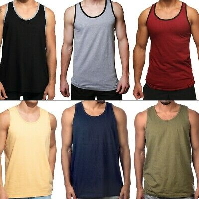 $10.95 • Buy Men Tank Top Camo Sleeveless Gym A-Shirt Solid Workout Fitness Beach Army Muscle