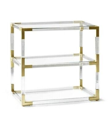$989 • Buy Jonathan Adler Jacques Acrylic And Brass 2-Tier Side End Table Nightstand