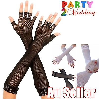 AU7.95 • Buy Long Ladies Fishnet Gloves Fingerless Sexy Party Dance 70s 80s Womens Glove