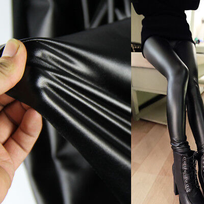 Black 4 Way Stretch Faux PU Leather Fabric Trousers Pants Dress Skirt Material • 5.49£