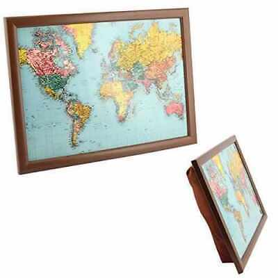 Map Of The World Lap Tray Dinner Breakfast Cushioned Padded Laptray Bean Bag New • 14.95£