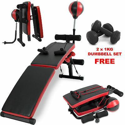 Sit Up Bench Ab Abdominal Exercise Gym Situp Machine Board Folding Roller Abs • 99.99£