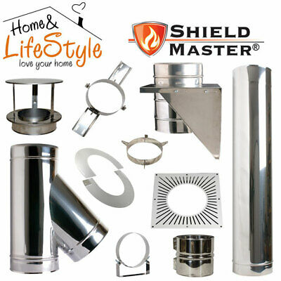 Shieldmaster Twin Wall Insulated Flue Pipe + Chimney Accessories Stainless • 22.60£