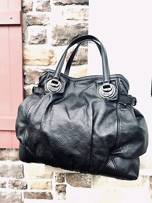 59302c132039 GUCCI Guccissima Black Leather LARGE Full Moon GG Tote Handbag Purse •  669.00$