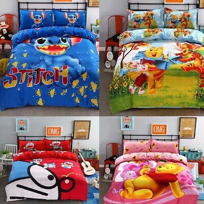 $33.99 • Buy Bedding Set Cartoon Kids Stitch Bedclothes Covers 4 Pcs Full Queen Bed Sheet