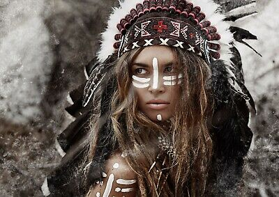 £4.99 • Buy Native American Woman Indian Poster Size A4 / A3 Tribe Tribal Poster Gift #12569