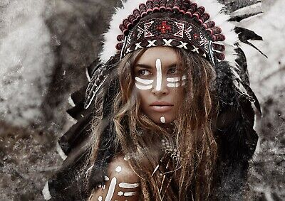 Native American Woman Indian Poster Size A4 / A3 Tribe Tribal Poster Gift #12569 • 4.99£