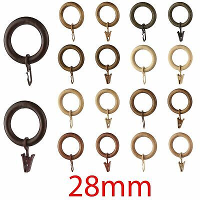 Wooden Curtain Rings 28mm - Multi Colour - Hooks, Clips, Curtain Pole Multi-Buy • 8.99£