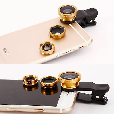 £2.98 • Buy 3 In1 Universal Fisheye Macro Wide Angle Clip Lens Kit For IPhone Samsung Tablet