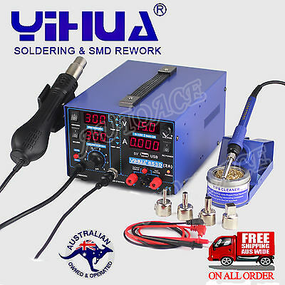 AU166.69 • Buy 3in1 YIHUA 853D USB 2A SOLDERING REWORK STATION FOR DC POWER SUPPLY HOT AIR GUN
