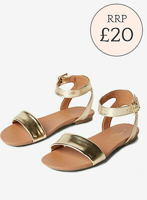 Ex Dorothy Perkins Rose Gold Leather Look 'Fran' Sandals Size 4 - 9 RRP £20 • 12.95£