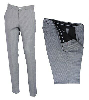 £29.99 • Buy Men's Retro Flat Fronted Sta Press Golf Check Trousers Mod Skin Dog Tooth Pants