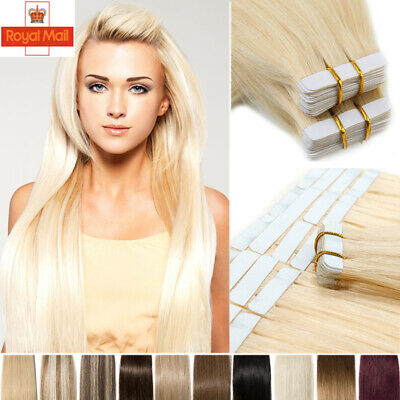 Russian Thick Tape In 100% Real Remy Human Hair Extensions Weft Highlight BLONDE • 23.03£