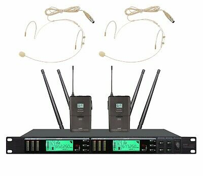 Wireless Headset Microphone System UHF Cordlesss Headworn Mic Set 2 Beige Mics • 176.19£