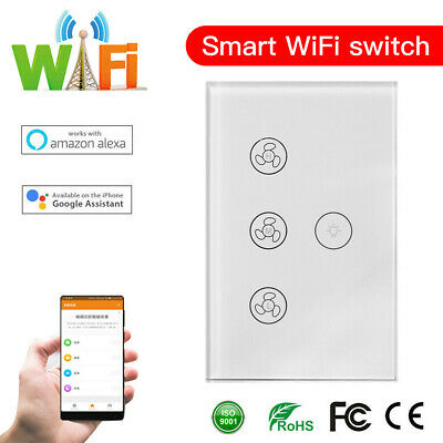 AU30.99 • Buy DIERYA WIFI Smart Ceiling Fan Wall Switch Touch Panel Fit For Alexa Google Home