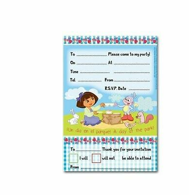 Girls DORA THE EXPLORER Invites Birthday Party Tableware Party Favour Child Kids • 3.95£