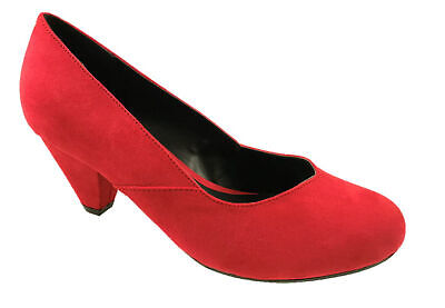 Ladies Eee Fit Faux Suede Low Heel Slip On Court Shoes Red Size Uk 3-10  • 14.95£