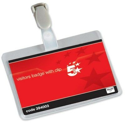 5 Star Name Badges Visitors Landsacpe With Plastic Clip 90x60mm [Pack Of 25]  • 9.99£