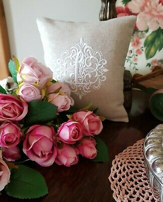 £24.99 • Buy Cushion Personalised Embroidered Wedding Gift French Linen Monogram