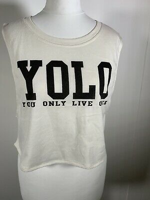 Womens Cropped T Shirt Yolo Cotton Blend Printed • 4.99£