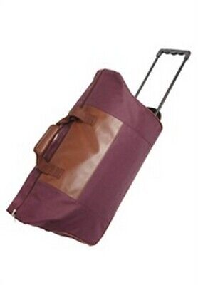 Maroon Faux Leather Zippered Duffle Bag With Wheels Pull Handle No Pockets • 12.58£