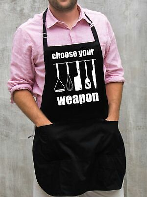 $22 • Buy Choose Your Weapon Apron / Funny BBQ Grilling Gift For Men - Dads & Grandpas