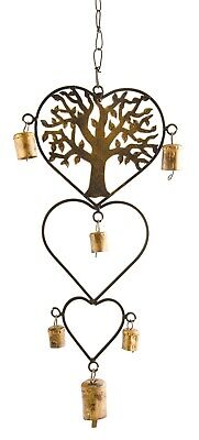 £13.49 • Buy Tree Of Life Heart Wind Chime Bell Beads Copper Iron Metal Home Garden 40cm New