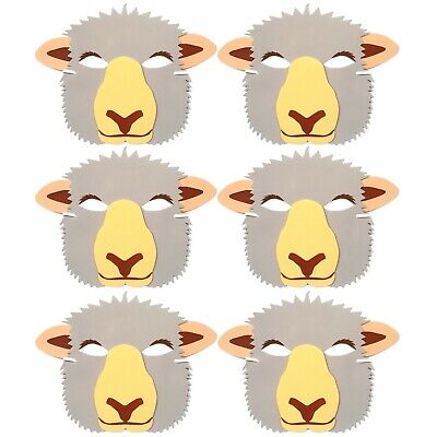 6 Sheep Foam Face Masks - Fancy Dress Theatre Farm Animal Masquerade Party Masks • 4.24£