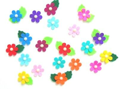 20 X Rainbow Felt Flowers With Leaves, Toppers, Embellishments, Card Making • 2.19£