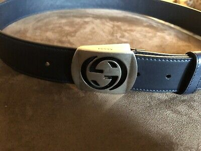 49a14fd71 Gucci Men's Navy Blue 90/36 Leather Belt Interlocking Gucci GG Buckle •  275.00$