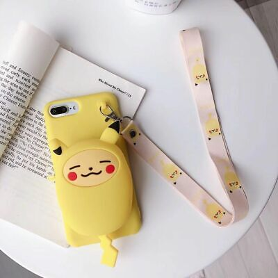 For IPhone 11 Pro XS Max XR 6 7 8 Cute Pokemon Bag Pikachu Coin Purse Phone Case • 8.76£