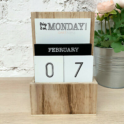 New Vintage White & Natural Wooden Block Date Year Desk Table Perpetual Calendar • 10.99£