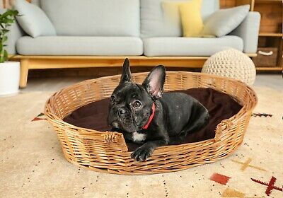 £30.99 • Buy Honey Color Premium Wicker Dog Pet Bed With Washable Cushions