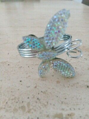 SILVER COLOURED DIAMANTE X 4  BUTTERFLY NAPKIN RINGS NEW! • 2.50£
