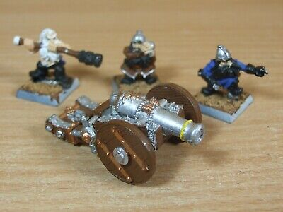 Classic Metal Warhammer Dwarf Cannon And Crew Painted (1218) • 25£