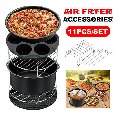 AU25.95 • Buy 11Pcs Set 8  Air Fryer Accessories Cake Pizza BBQ Roast Barbecue Baking Pan Tray
