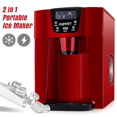 $118.90 • Buy 2 In 1 Electric Ice Maker Machine Compact Water Dispenser  Countertop 26LBS Red