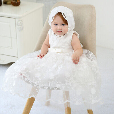 £24.99 • Buy Baby Embroidery Lace Baptism Dress Blossom Christening Birthday Gown With Bonnet