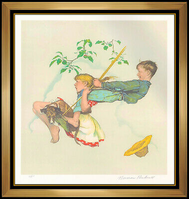 $ CDN3860.19 • Buy Norman Rockwell Original Color Lithograph Hand Signed The Swing Children Artwork