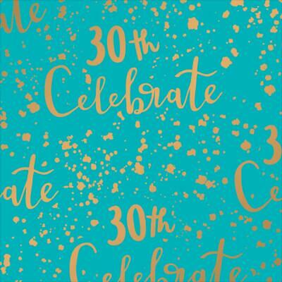 30th Birthday GIFT WRAPPING SHEET Or TAG Paper Gold Foiled Thirtieth 30 Unisex • 1.95£