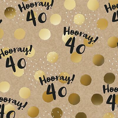 40th Birthday GIFT WRAP WRAPPING SHEET Paper Gold Foiled Forty 40 Unisex Party • 1.95£