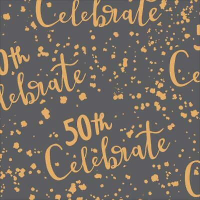 50th Birthday GIFT WRAP WRAPPING SHEET Paper Gold Foiled Fifty 50 Unisex Party • 1.95£