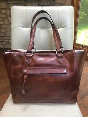 e55a5c790 New~Frye Leather Melissa Distressed Zip Top Tote~Cognac • 198.00$