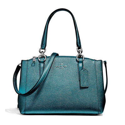 a1ad4ce0364 Nwot Coach 23337 Metallic Dark Teal Crossgrain Leather Mini Christie •  99.95$