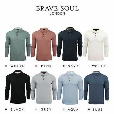 Brave Soul Lincoln Mens Polo T Shirt Long Sleeve Cotton Pique Casual Top • 10.99£