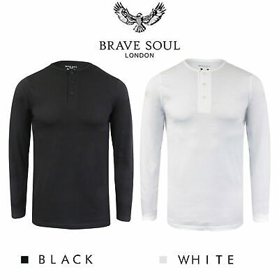 Brave Soul Casual Grandad Long Sleeve Top Plain T Shirt • 8.99£