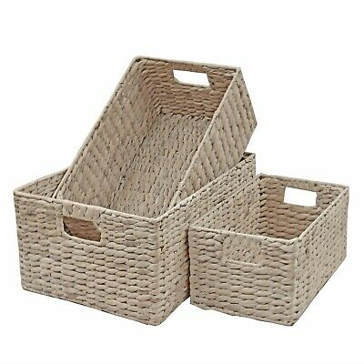 Wicker Storage Basket Shelf Drawer White Washed Natural Water Hyacinth  • 14.99£