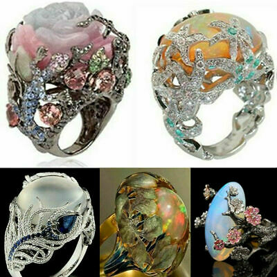 $0.98 • Buy Silver Ring Woman Man White Fire Opal Moon Stone Wedding Engagement Size6-10